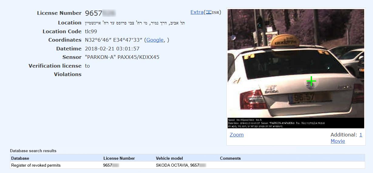 PARKON-A database example